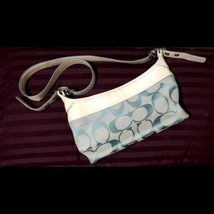 Baby blue and white Coach handbag M0871-F13359